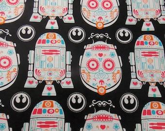 Star Wars Fabric  C3PO Sugar Skull Fabric R2D2 Sugar Skull Fabric Quilting Fabric Craft Fabric Pillowcase Fabric Curtain Fabric