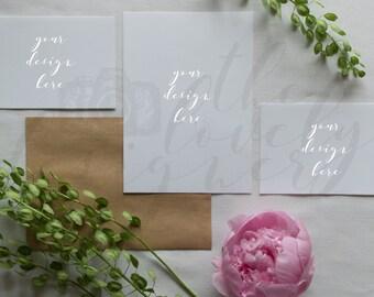 Invitation Mockup | Wedding Invitation Kit | Styled Photography | Greens + Florals | Kraft Envelope | 2 Included