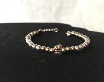 Silver beaded butterfly bracelet