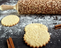 Flowers 4 - Embossing rolling pin, laser engraved rolling pin, flowers art pattern, rolling pin for a gift