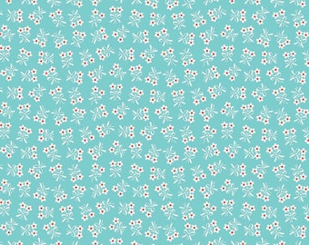 Biscuit Daisy Aqua, 1 yard fabric, from Biscuit Collection from Penny Rose Fabrics