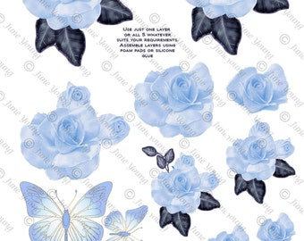 Blue Roses & Butterflies