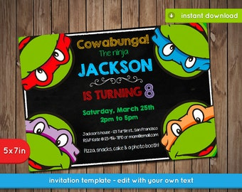 Teenage Mutant Ninja Turtles Invitation - TMNT Printable birthday party invite - PDF Instant Download