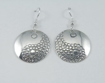 J Pool Graphics Collection Handmade Sterling Silver Stylized Yin Yang Earrings