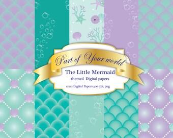 The Little Mermaid Themed 12 x 12 Digital Paper set