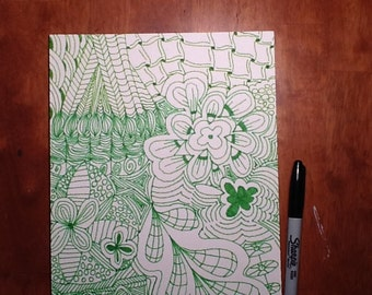 Green on white Zentangle inspired art