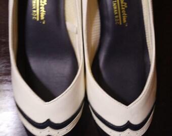 Premiere Collection white/navy sailor heels sz. 6