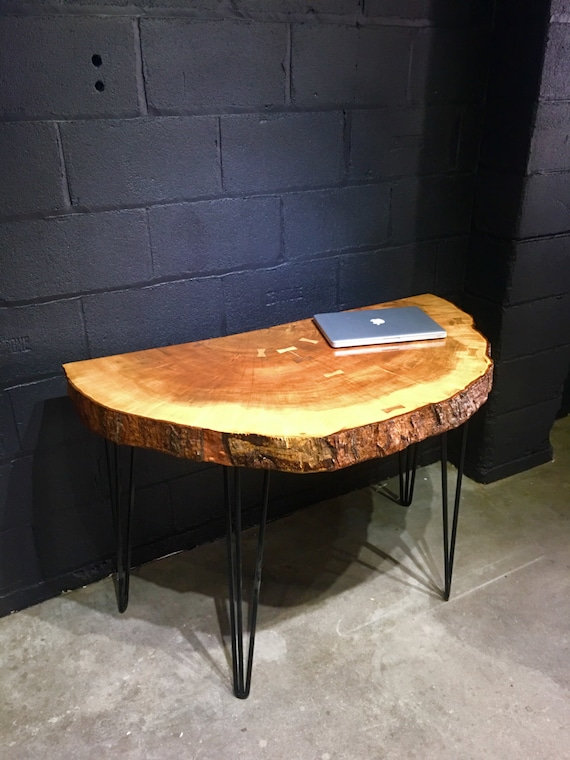 Live Edge Foyer Table : Slab live edge half round hall table with industrial