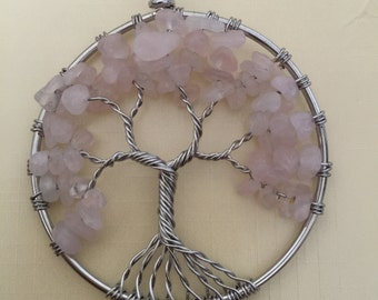 Pink Quartz Crystals Tree of Life Pendant Necklace
