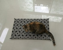"Cat Pad - Cat Mat - size 23"" x 14.5"", Unique and Durable with 12mm Canvas Fabric - black and white background"