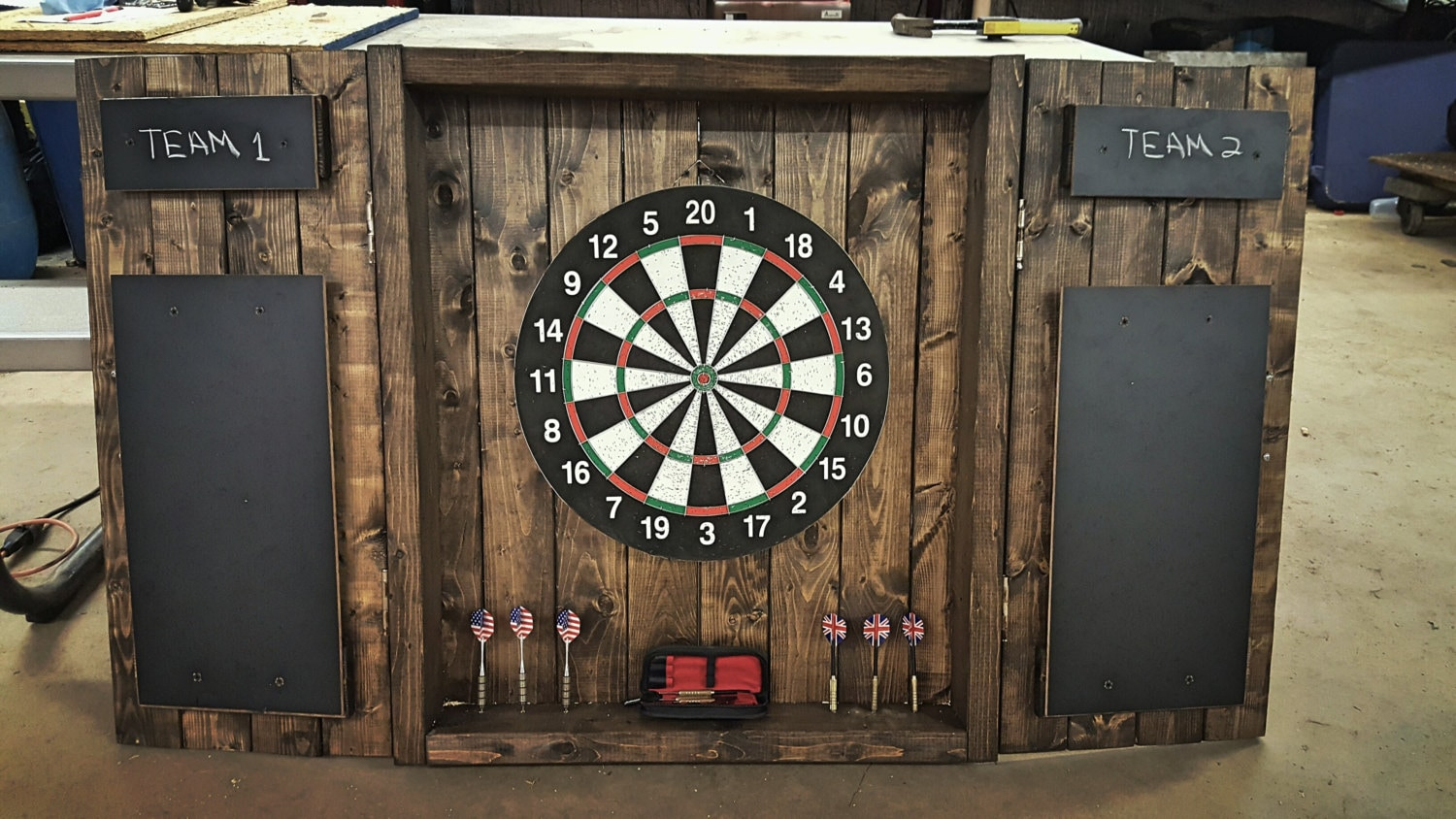 Dartboard Cabinet Rustic Dark Stained Cabinet With Doors