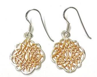 Sterling Silver Celtic Earrings 18ct gold centres/handmade