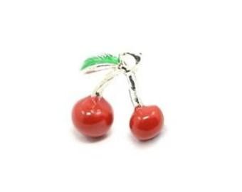 Cherry Charm.  Red/Green Enamel & Alloy x 3