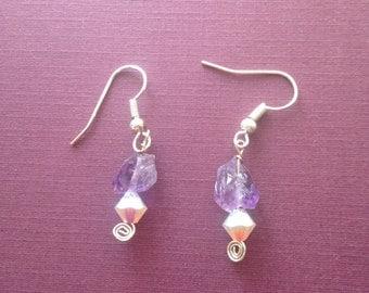 Amethyst and Pink Crystal Drop Earrings