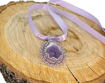 Natural amethyst pendant Purple gemstone pendant Amethyst beadwork jewelry Purple white gemstone Embroidered seed beads pendant