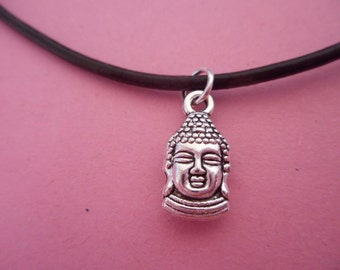 Pendant Chain Buddha leather Necklage Silver plated