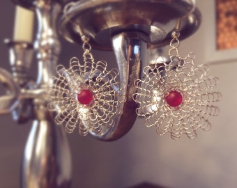Earrings made of knitted wire