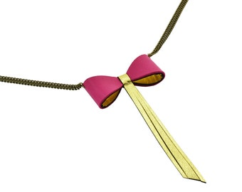 """""""Bow tie Mauricette"""" neck double or fuchsia leather"""