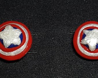Captain America's shield stud earrings