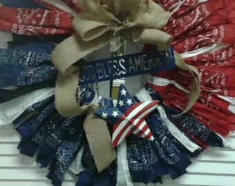 God Bless America Red White & Blue Bandana Wreath