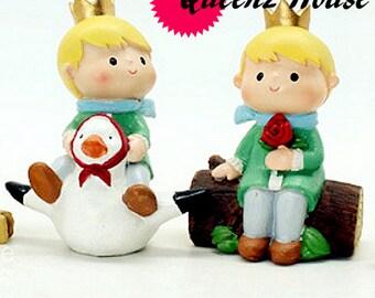 2pcs the little prince resin figures statue cute fair garden miniature  mold plaster  decoration