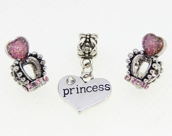 Pink and Silver Heart Princess Crown Set of 3 Charms will fit Pandora Style Charm Bracelets - Set 82