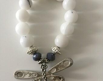 Dragonfly white agate bracelet