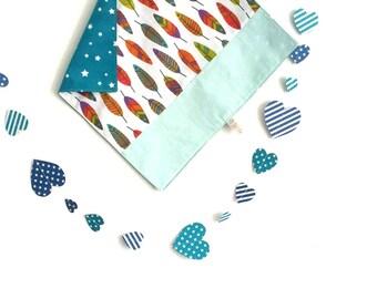 Table/Tea towel boy pattern stars & feathers coloured