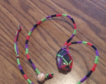 Tumbled Stone Netted Necklace (Tied String multi- color)