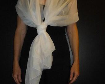 White Chiffon Wrap - Shawl - Scarf