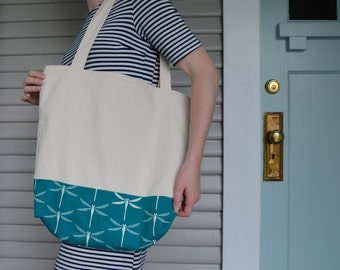 Lined Two-Tone Canvas Tote Bag (Dragonfly)