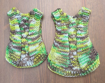 Lemon/Lime/Grey Hand Knit Cabled Chicken Sweater