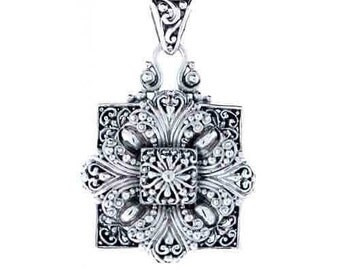 Sterling Silver Square Flower Pendant