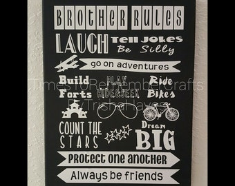 Brothers Sign/ Boy Room Decor/Big Brother, Little Brother Sign
