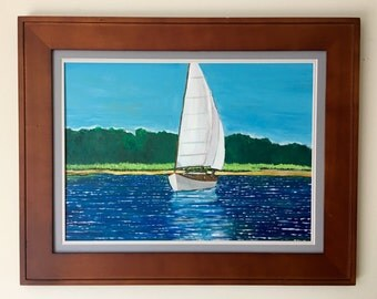 Small Ketch Under Sail (Acrylic on 18x24 wood panel)