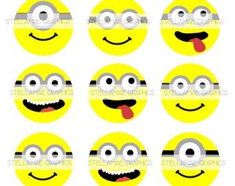 Despicible Me Minion Faces - 1 inch circle images, bottlecap, cupcake  topper - INSTANT
