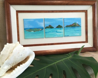 Koa Framed Painting of Windward Oahu's Triple Islands: Rabbit, Flat, and Mokulua's