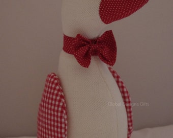 Duck Doorstop Red & White Checked 27.cm FD0522