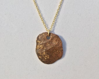 Woodfired Stoneware Pendant with Gold Chain