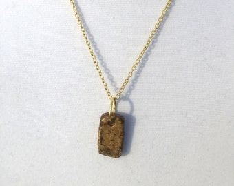 Woodfired Stoneware Pendant Necklace on Chain
