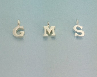 Tiny Sterling silver initial charm. 5mm Sterling silver initial charm. Silver Letter Charm. 925 Sterling Alphabet Charm