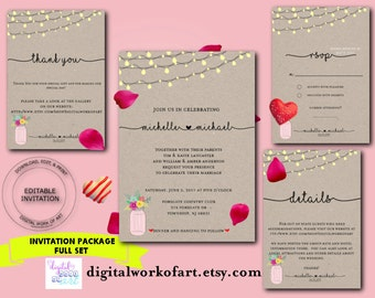 Wedding Invitation Template, Wedding Invitation Rustic, Mason Jar, Stringing Lights, cheap wedding, printable rustic, wedding invitation set