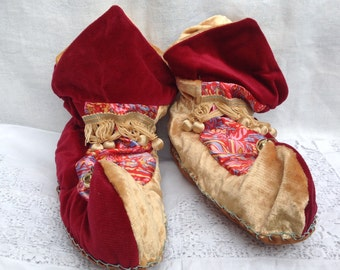 Velvet jester slippers in red, ochre and pinks, handmade with bells on the toes