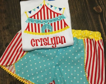 Circus Tent Applique Tee and Matching Coachella Shorts with Name
