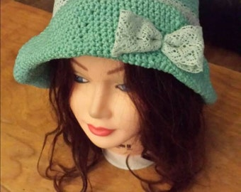Seafoam bow hat