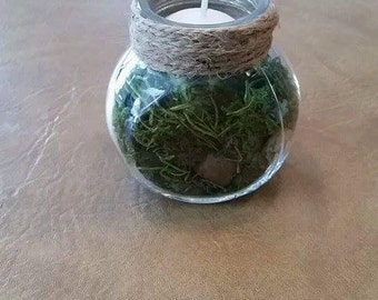 RusticWoodland RockMoss Candle Holder Small