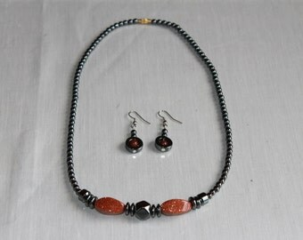 Set of Hematite Necklace with Goldstone + Matching Earrings