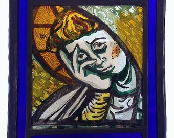Distressed Saint - Contemporary Stained Glass Panel