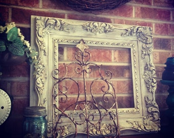 Antique distressed white picture frame