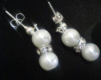 Faux pearl and rhinestone earrings
